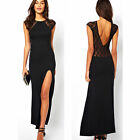 Hot Women's lace patchwork deep V-neck placketing sexy one-piece dress plus Size