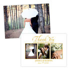 Personalised wedding thank you cards WHITE GOLD GLOSS PHOTO FREE ENVELOPES & DRA