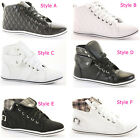 Ladies Hi Tops Trainers Sneakers Lace up Flat Sports Ankle Boots Shoes Size
