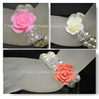 FASHION DOUBLE BEAD STRAND PEARLS AND CRYSTAL ROSE CHARM WOMENS STRETCH BRACELET
