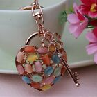 New Design Opal Lock And Key KeyChain Purse Charm Crystals Key Chain YSK156