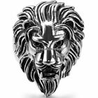 Biker Men's Vintage Casting Black Silver Stainless Steel Lion Head Ring Band