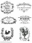 Vintage Advert French shabby chic 6 x transfers or sticker  decoupageTypography