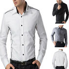 New Luxury Mens Long Sleeve Slim Fit Stylish Casual Formal Dress Shirt Tops S~XL