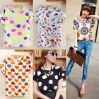 lady Girls Chiffon Casual Batwing Short Sleeve Loose Blouse Top T Shirt S M L