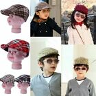 Kid Child Boy Girl Cotton Grid Beret Baseball Peaked Visor Hat Sun Summer Caps