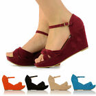 WOMENS FAUX SUEDE WEDGES LADIES PEEP TOE WEDGE HEELS SHOES SANDALS SHOE SIZE 3-8