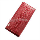 Latest Women Crocodile Grain Long wallet Bifold Purse Clutch 3 Colors FO