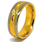 8mm 18K Gold Plated Faceted Center Titanium Wedding Band Sizes 4-16