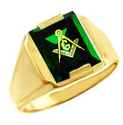 Freemason Green Stone Square & Compass Gold Masonic Mens Ring Letter G