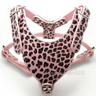 New Pink Leopard Leather Dog Harness Big Pitbull Mastiff Boxer Chest for 26~34""