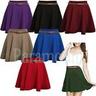 Skater Belted Plain Flippy Short Skirt   womens Size