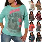 New Damen Strick Pullover Pulli Motiv Fledermaus Long Shirt Bluse Sweater Nr454