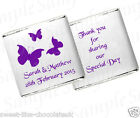 ** 50 PERSONALISED CHOCOLATE WEDDING/ANNIVERSARY/BIRTHDAY/FAVOURS - BUTTERFLY **