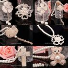 1X Fashion Bear/Cross/Car/Flower Charm Full Smooth Pearl Necklace With Pendant
