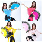Belly Dance Accessory Handmade Peacock  Feather Fan 10colors