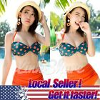 2016 TOP RETRO Swimsuit Swimwear Vintage Push Up Bandeau HIGH WAISTED Bikini Set