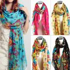 Hot Sale Fashion Long Cotton Voile Floral Shawl Scarf Wrap Stole For Girls/Lady