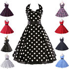 8Style Polka dot Swing 50s Housewife pinup Vintage Rockabilly EVENING Dress New