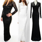 Womens Lace Floral Maxi Long Sleeve V-neck Bodycon Prom Cocktail Evening Dress G