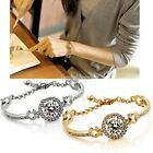 Hot Sell Crystal Cylindrical Gold Filled Zircon Stretch Beaded Bracelet Chain SH