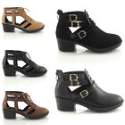 LADIES WOMENS CHUNKY SOLE CUT OUT CHELSEA LOW HEEL GOTHIC ANKLE BOOTS SHOES SIZE