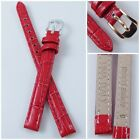 HQ RED GLOSSY ITALY CROC GRAIN LEATHER WATCH BAND 8MM 10MM and MULTISIZES STRAP