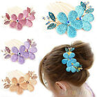 SWEET CRYSTAL FLOWER BARRETTE LUXURY RHINESTONE HAIR COMB HAIRPIN HAIR CLIP B72K