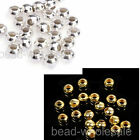 New 100Pcs Silver/Gold Tone Round Metal Spacer Beads 4mm For Jewelry