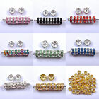 100Pcs Silver Plated Crystal Rhinestone Rondelle Charms Spacer Bead Beads 6/8mm