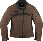 ICON 1000 HELLA LEATHER MOTORCYCLE STREET RIDING JACKET WOMENS BROWN LADIES 2014