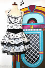 H &R ROCKABILLY TATTOO PRINT HALTERNECK WHITE & BLACK MINI DRESS 8 10 12 14 & 16