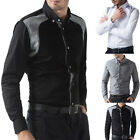 Patched Men Casual Long Sleeve Fitted Shirts POLO Shirts 3Colors S~XL COLLECTION