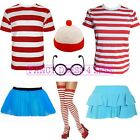 NERD FANCY DRESS RED & WHITE STRIPED T SHIRT HAT GLASSES SKIRT TUTU GEEK HEN FUN