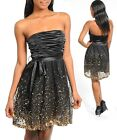 Women Prom Race Wedding Black Gold Cocktail Dress Size 8 S 10 M 12 L NEW