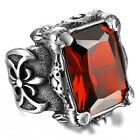 Men's Silver Dragon Claw Huge Vintage Gothic Ruby 316L Stainless Steel Rings