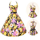UK Flower Floral Swing 50s Housewife pinup Vintage Rockabilly Retro Cotton Dress