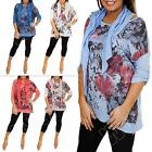 New Ladies Womens Floral Print Italian Lagenlook Tunic Baggy Top Size 14 16 18 L