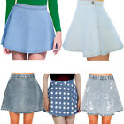 Denim Blue Acid Wash Button Waist Full Circle Skater Skirt Size  Womens