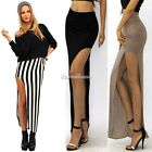 WOMEN HOT SEXY HIGH WAIST JERSEY SIDE OPEN LEG SLIT SPLIT LONG MAXI SKIRT SH