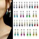 1 Pair Fashion Shining Crystal Rhinestone Teardrop Silver / Gold Dangle Earrings