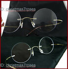 43mm Round Vintage style Men rimless Optical β-Titanium eyeglass frame 22mm nose