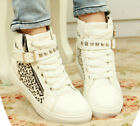 Womens Fashion Lace Up Buckle Zipper Skateboarding Sneaker Athletic Tennis Shoes