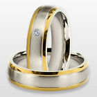 2 Stainless Steel Wedding Engagement  Rings His And Hers Pair Women Men Ring Set