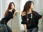 Summer New Sexy Off Shoulder Loose Clubwear T-Shirt Tops Blouse Batwing Sleeve