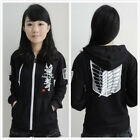 Black Attack on titan / shingeki no kyojin Investigation Hoodies Jackets Coats U