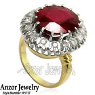 18k Solid Yellow & White Gold 16cwt Ruby 1.50 cwt Diamond Russian Ring Style