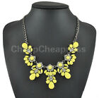 FO New Fashion Rhinestone Flower Waterdrop Statement Bib Choker Necklace UKJJL