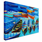 Print of boats and sea Canvas Wall Art Print Large Any Size