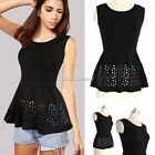 Women Sexy Party Cocktail Sleeveless Pleated Hollow Peplum T-shirt Tops Blouse